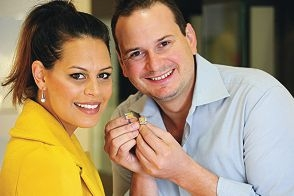 Shannon Wirrpanda and jeweller Rohan Milne with the recently auctioned earrings and cufflinks. Picture: Marcus Whisson www.communitypix.com.au d405415