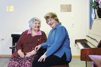 Resident Alice Kirkbride with volunteer Joy Parnell, who has been awarded the Bethanie Volunteer Medallion. Picture: Martin Kennealey www.communitypix.com.au d405362