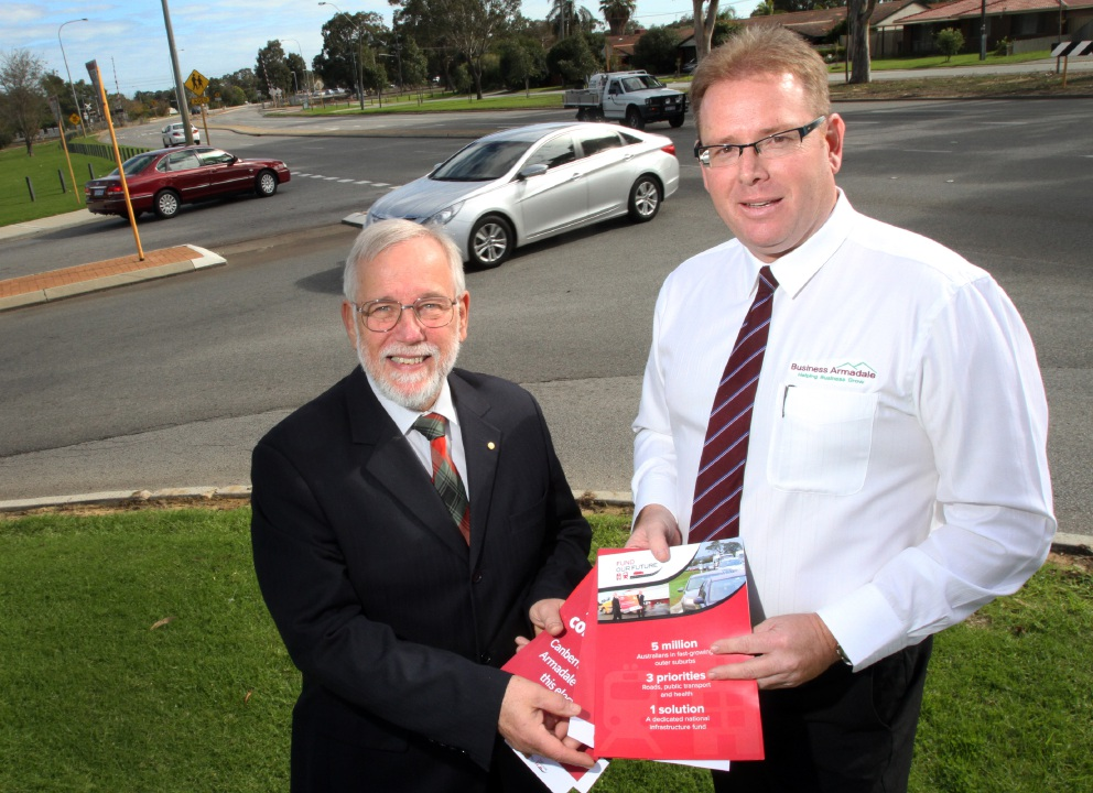 City of Armadale Mayor Henry Zelones with Business Armadale vice-president Wayne Nurse.|Picture: Robin Kornet  www.communitypix.com.au   d454686
