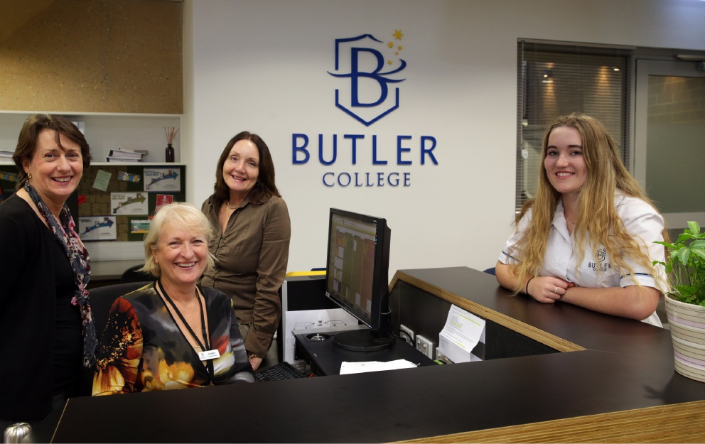 Year 11 student Kathleen Bezer with Butler College VET staff Maureen Kirkness, Liz Storey and Leigh Litten. Picture: Martin Kennealey            d454630