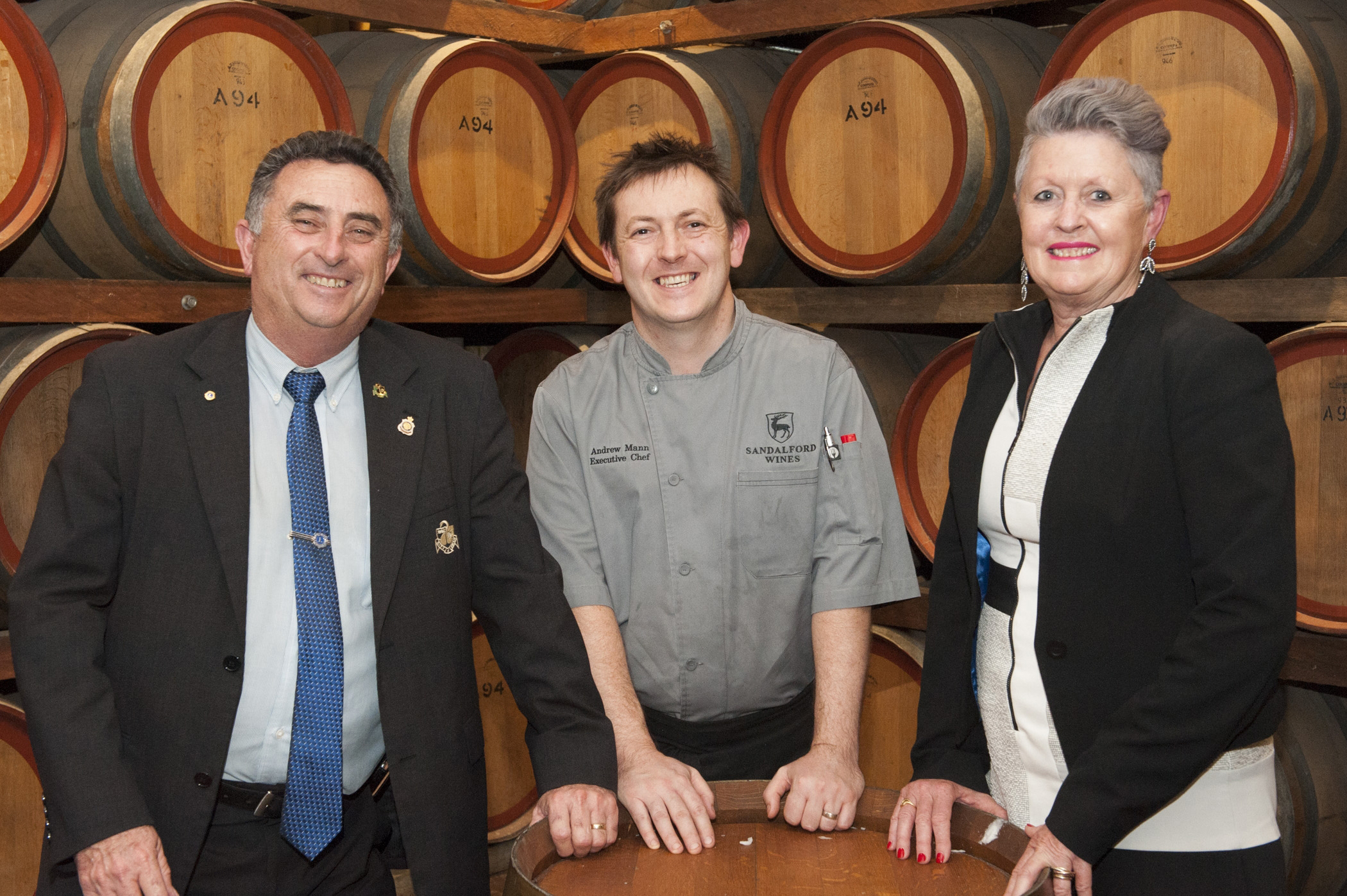 City of Swan Mayor Mick Wainwright, Sandalford Wines Executive Chef Andrew Mann and Principal Policy Officer at Department of Agriculture and Food Deborah Pett.