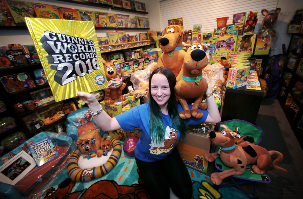 Shauni Williams with her extensive collection of Scooby Doo toys and memorabilia. Picture: David Baylis        www.communitypix.com.au   d454673