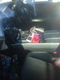 Alan Goodier took this photo of the phone and credit cards clearly visible in the car.