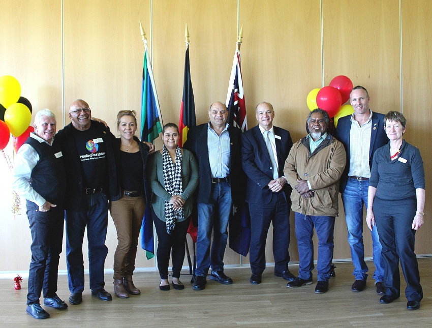 L to R: Michael Wright (Looking Forward Project), Jim Morrison (Healing Foundation), Dr Cheryl Kickett (Pindi Pindi), Kristina Radcliffe (MercyCare), Ken Hayward, Chris Hall (MercyCare), Walter McGuire, James Back (Reconciliation WA) and Sheryl Carmody (MercyCare).