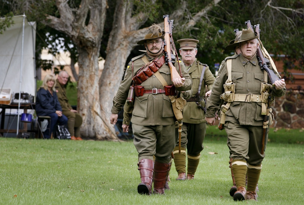 The Shire of Kalamunda wants people to have their say on the use of Stirk Park. Pictured marching at the park are members of the Westralian Great War Living History Association.