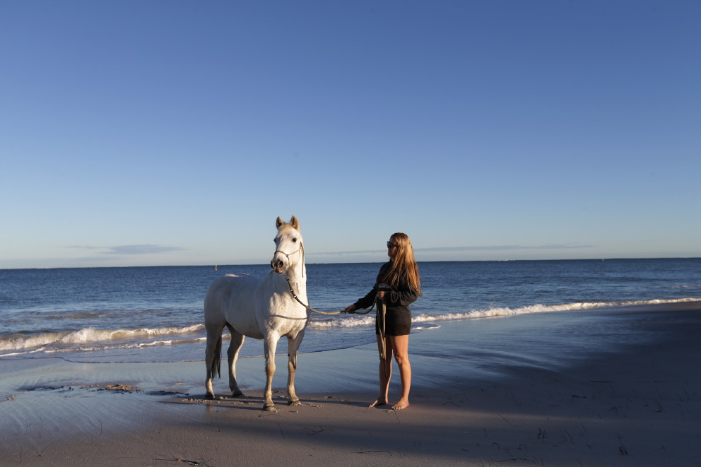 Cassie McEntee with horse Lucy at the Hillarys Horse Beach. Picture: Martin Kennealey d454896