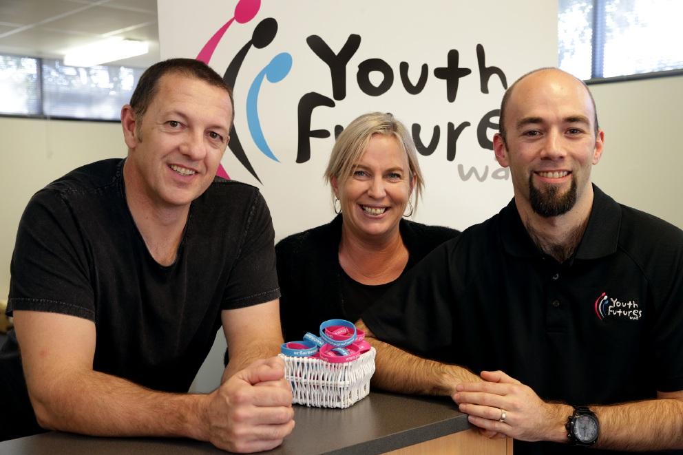 Youth Futures CEO Mark Waite with Business Development Manager Felicity Lockyer and Program Co-ordinator Mark Bird.www.communitypix.com.au   d454875