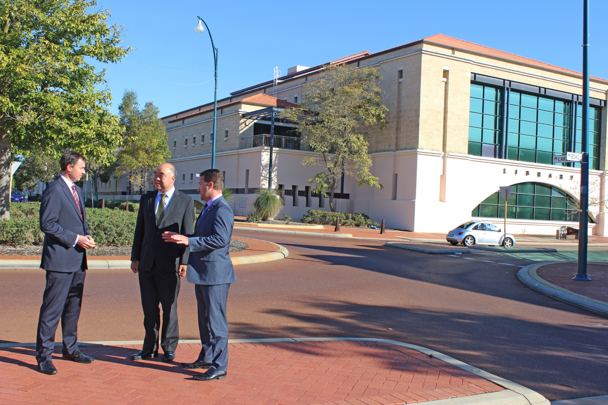 Justice Minister Michael Keenan, Moore MHR Ian Goodenough and Joondalup Mayor Troy Pickard.