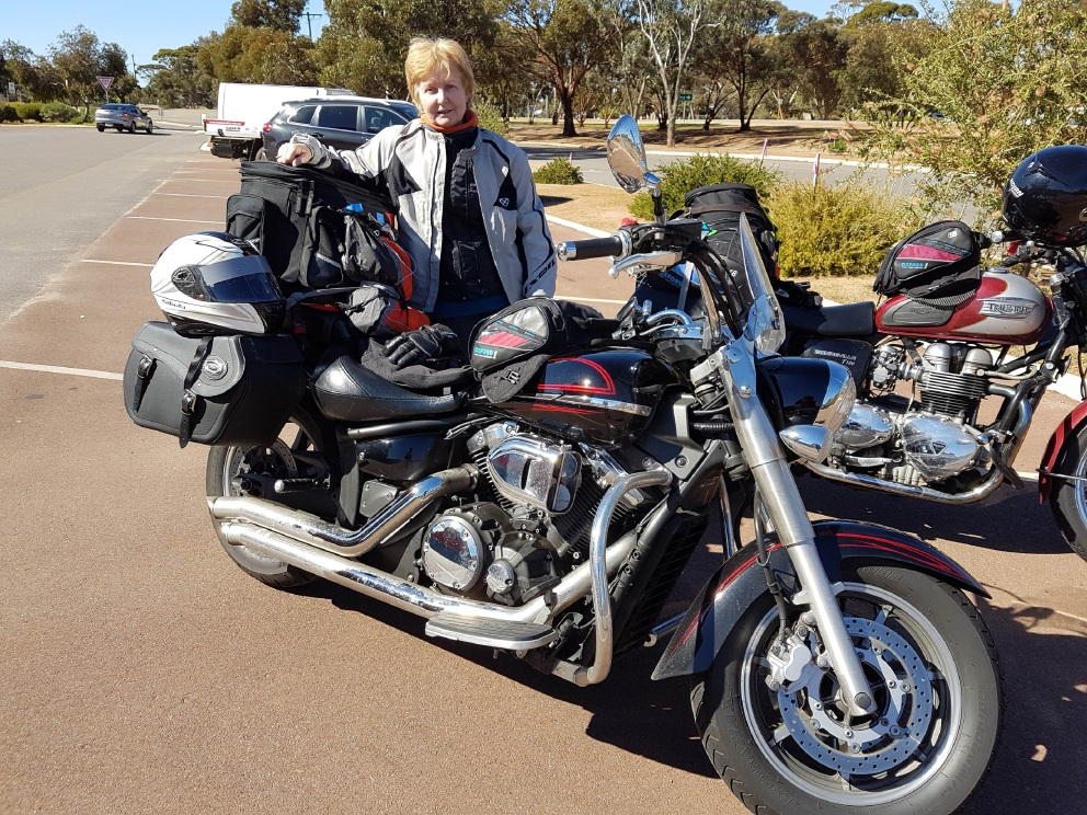 Wendy Hudson with her 1300CC Yamaha V Star Cruiser.