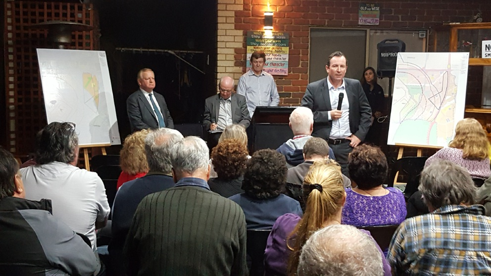 Labor leader Mark McGowan addresses the large crowd at last week's community meeting in Mandogalup.