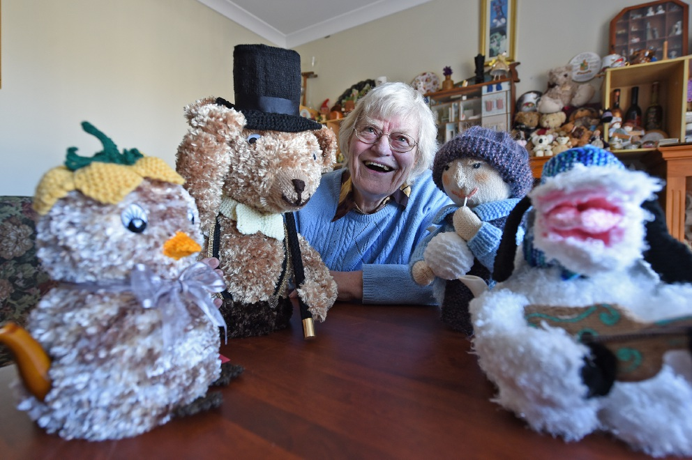 Mary Spencer (79) with some of her tea cosies.  Picture: Jon Hewson        www.communitypix.com.au   d454644