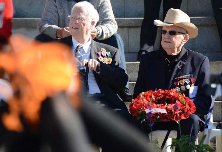 Former US Marine Jack Fletcher (left) with NAVU senior officer (retired) USN Capt Michael Donnelly at the Memorial Day service, which was also attended by former Australian ambassador to the US Kim Beazley (top right).