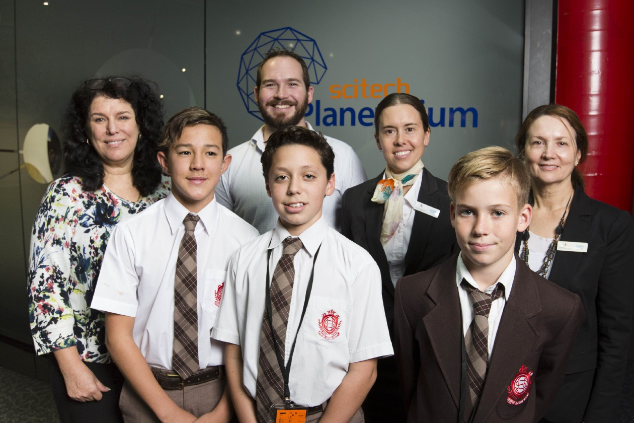Students Connor Ougan, Adriano Todoro and Hugh Swann with teacher Tanya Atherton, Scitech master of challenges Thomas Coe, Catholic Education WA science consultant Fiona Hassel and teaching and learning team leader Maria Outtrim.