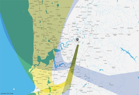 The yellow area marks the flight path for the validation study undertaken by Airservices Australia.