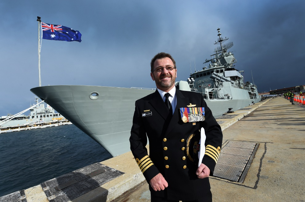 HMAS Perth Commanding Officer, Captain Ivan Ingham before the ship departed today.