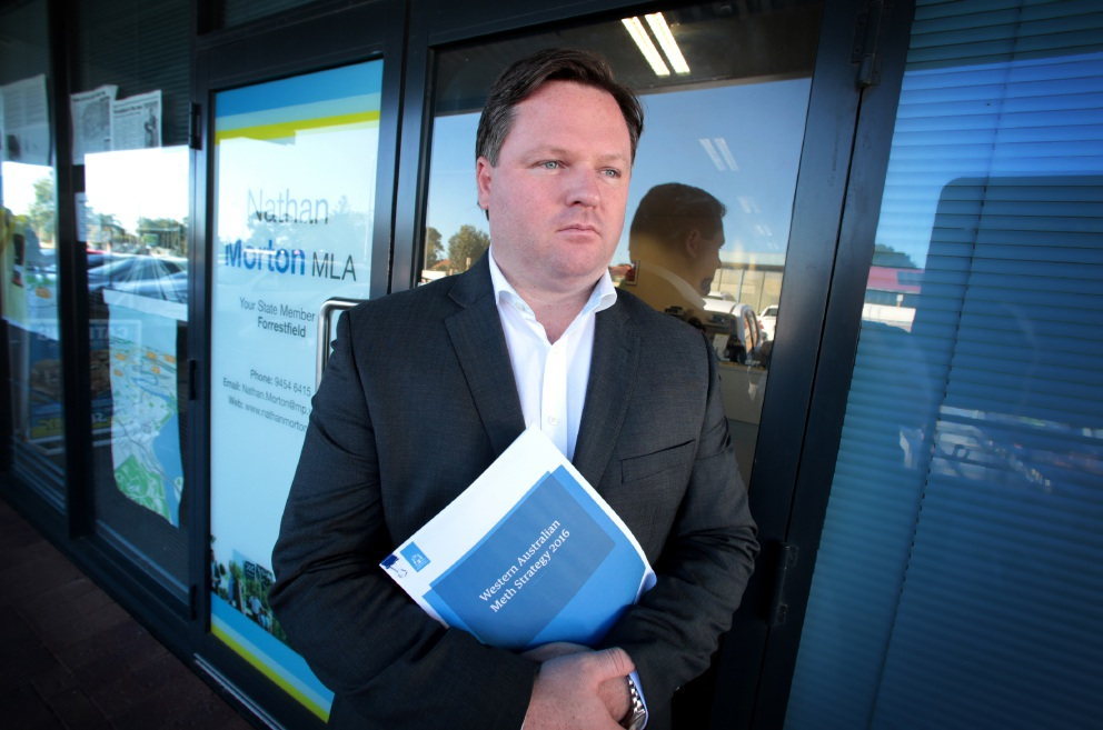 Forrestfield MLA Nathan Morton with a copy of the WA Meth Strategy 2016. Picture: David Baylis   d455131