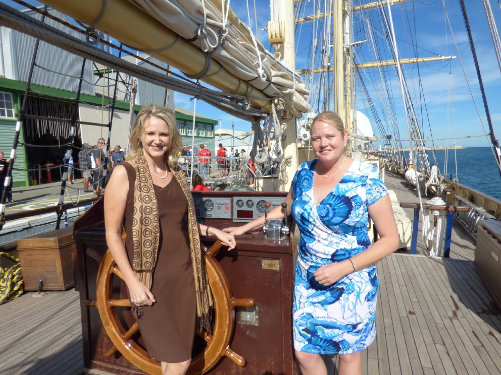 Federal member for Fremantle Melissa Parke and Leeuwin Foundation chief executive Anne-Marie Archer aboard the ship.