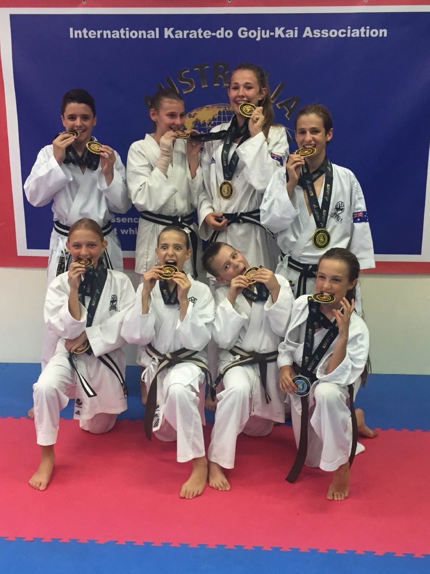 The students from Brian Mackie Goju Kai dojo with their medals.