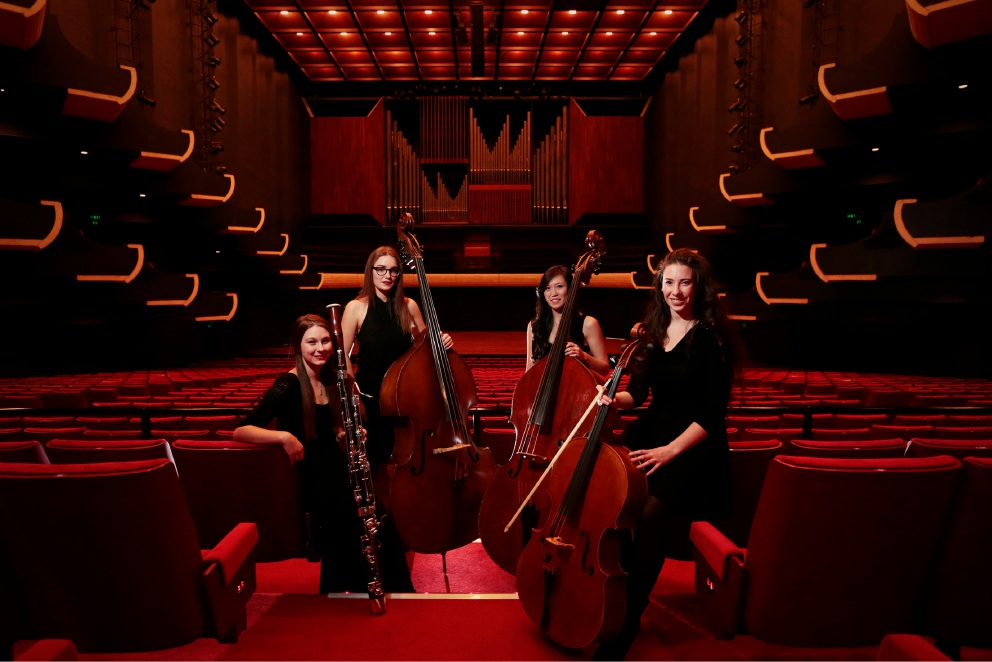 L-R Natalya Czernicziw with bassoon (Inglewood), Andrea Sitas with double bass (Wembley), Ebony Lim with double bass (North Lake) and Jade Hansen with cello (Stirlng). Picture: Andrew Ritchie d454042