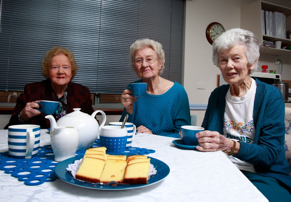 Swan Care residents Natalie Collins, Petronella Timmer and Fran Stagolle enjoying a cuppa together Picture: Marie Nirme d454272