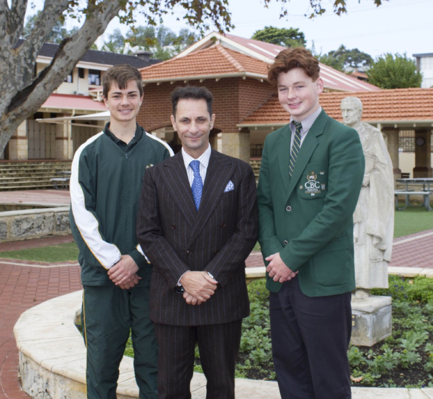 Preston Hinton, CBC vice principal Domenic Burgio and Toby Tomlinson.