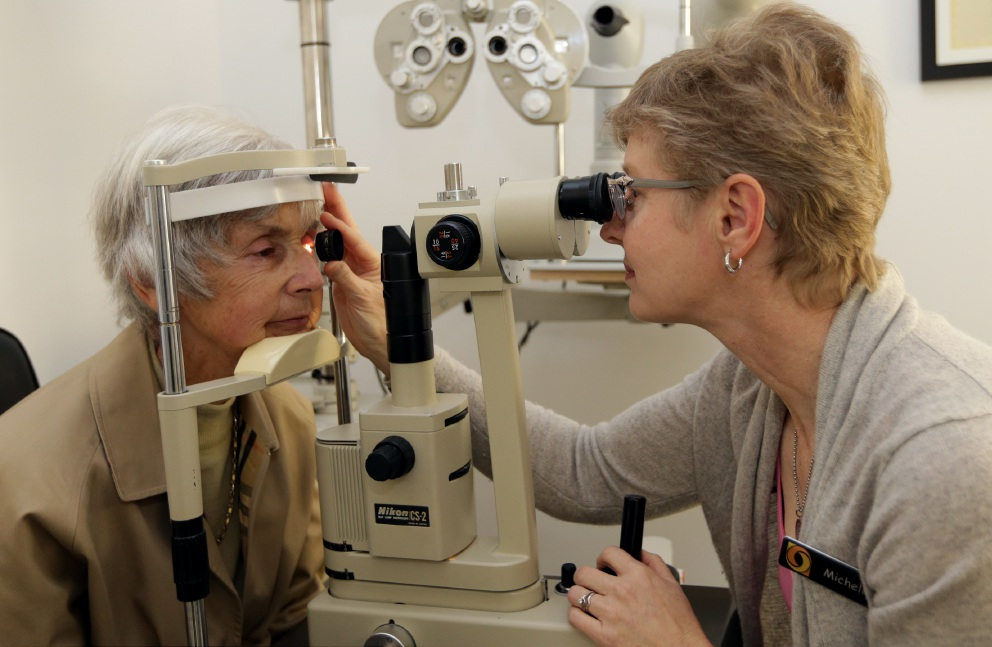 Luagh Mulligan (Warwick) with optometrist Michelle Bell.