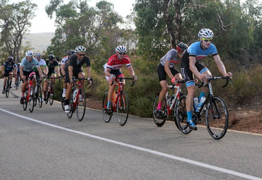 Cyclists on the Zig Zag stretch of the qualifying event in March through Gooseberry Hill. Picture: Bruce Hunt
