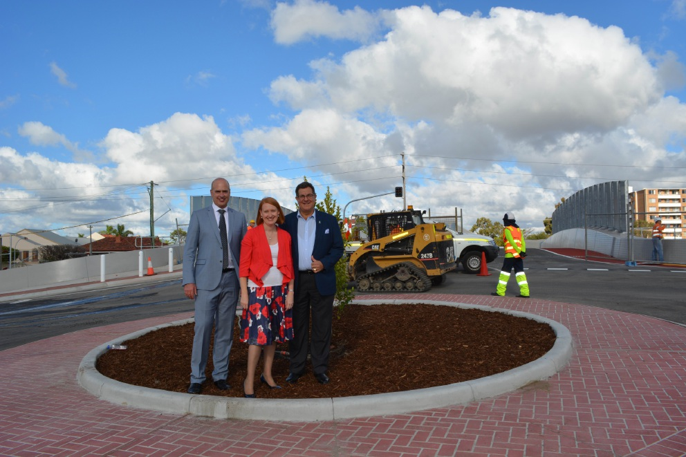 Transport Minister Dean Nalder, Planning Minister Donna Faragher and Mt Lawley MLA Michael Sutherland ahead of the opening of the new Third Avenue bridge.