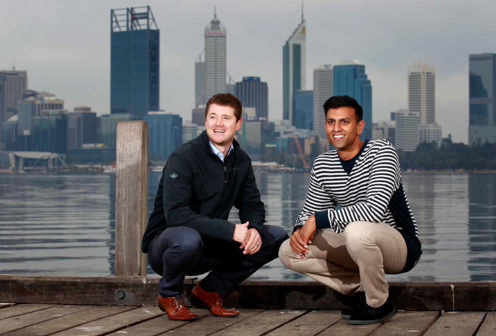 Josh Bond and Amit Khaira, co-owners of Halo Espresso in South Perth and co-directors of Initiate Australia Picture: Marie Nirme d454326