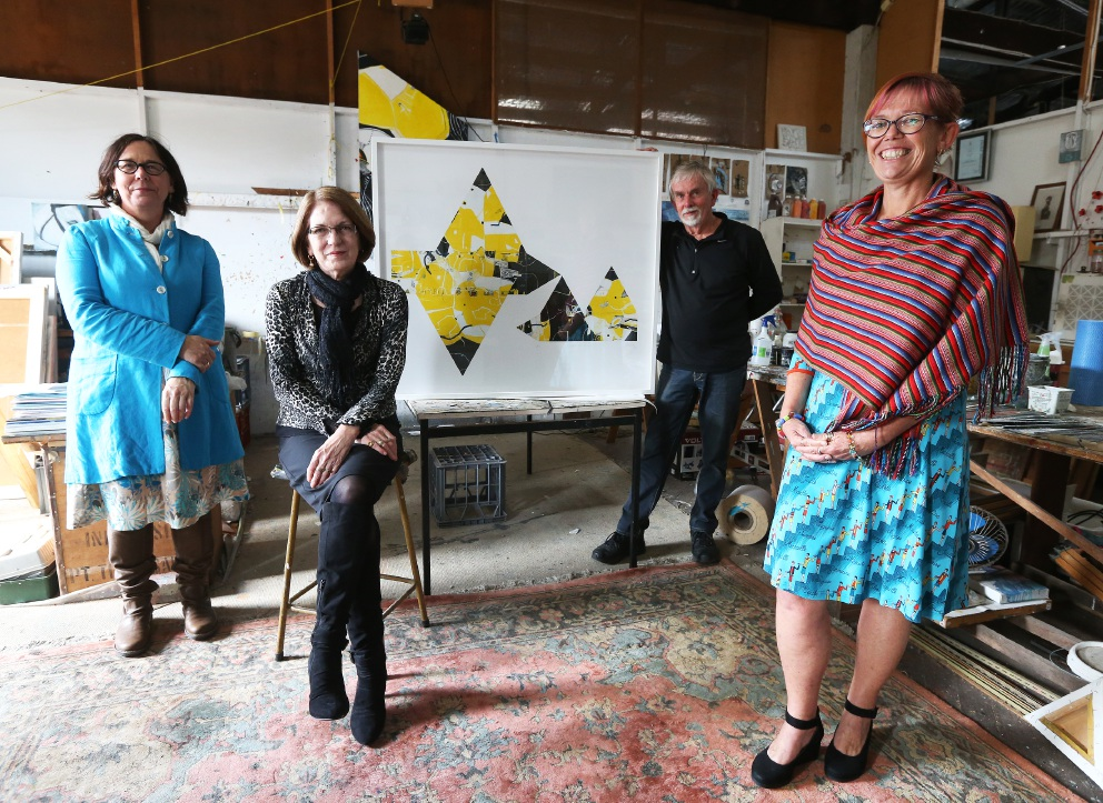 Fremantle Street Doctor general manager Sarah Tadier with artist Geoffrey Wake, Fremantle Multicultural Centre chief executive Peta Wootton and auction curator Lyn DiCiero.