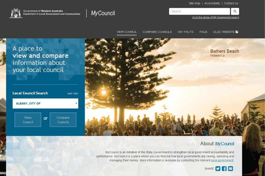 The State Government's new MyCouncil website.