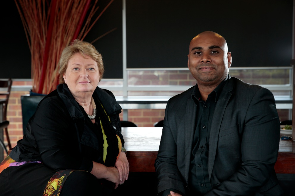 Liz Prescott (Ausum) with Jeremy Chetty (co-founder Student Edge), who is being recognised for volunteering at Midland-based not-for-profit organisation Ausum where he mentors Aboriginal youth to help set up their own businesses. Picture: Andrew Ritchie d453104