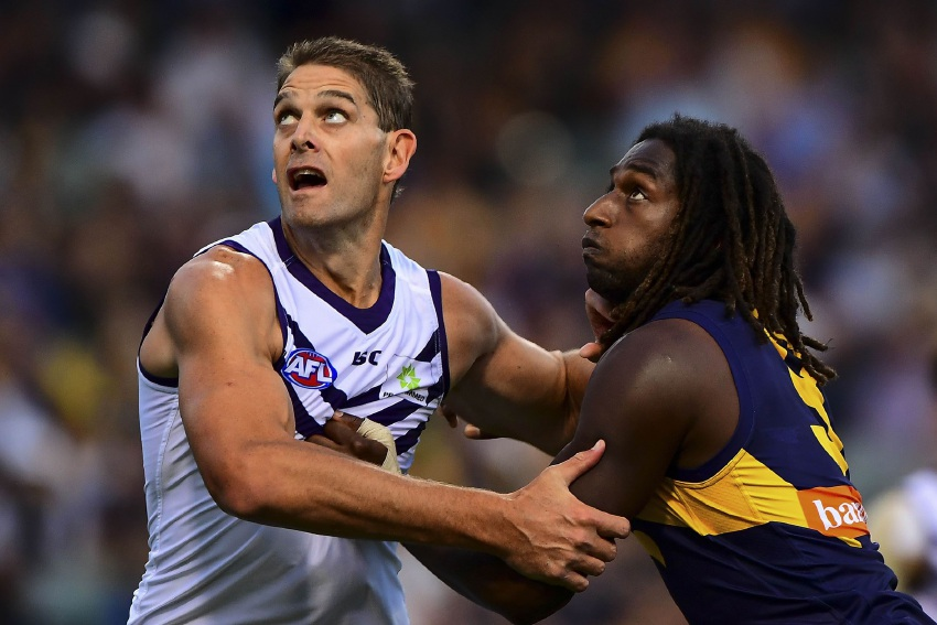 Aaron Sandilands contests a boundary throw in against West Coast's Nic Naitanui during the round three Western Derby at Domain Stadium. Picture: Daniel Carson/AFL Media