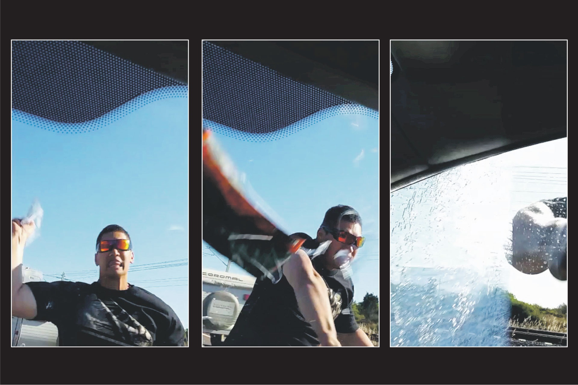 A series of stills from the road rage video.