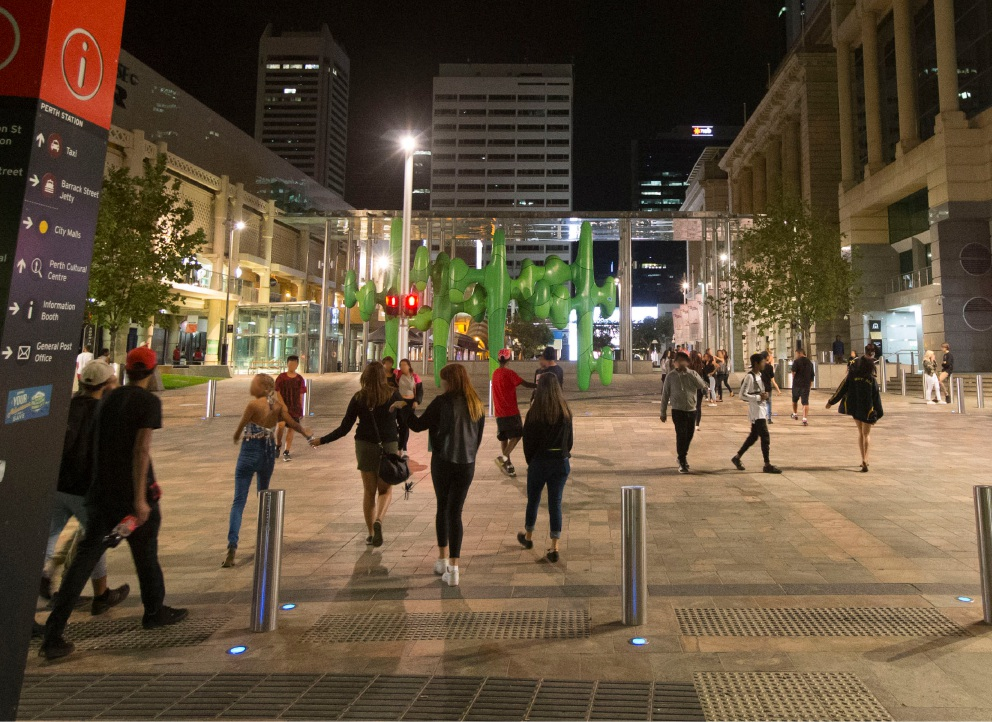 Kids roam the streets in Perth CBD last Friday night. Picture: Matt Jelonek