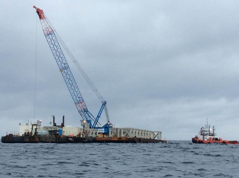 The artificial reef being deployed off Mandurah. Photo by Dawesville MLA Kim Hames.