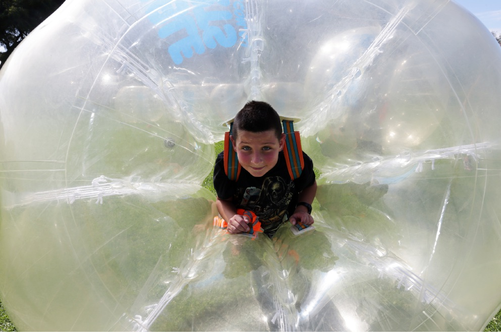 Yanchep's Hunter Ulrick (11) enjoying bubble sports at Charnwood Reserve, Two Rocks. Picture: Martin Kennealey d452714