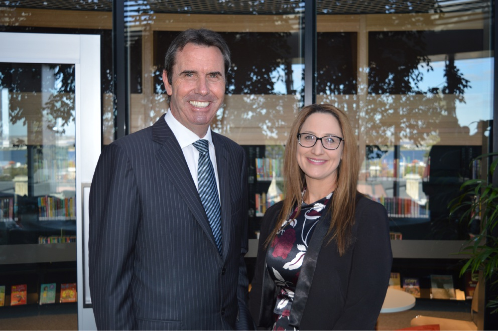 Education Minister Peter Collier with Swan View Senior High School principal Melesha Sands.