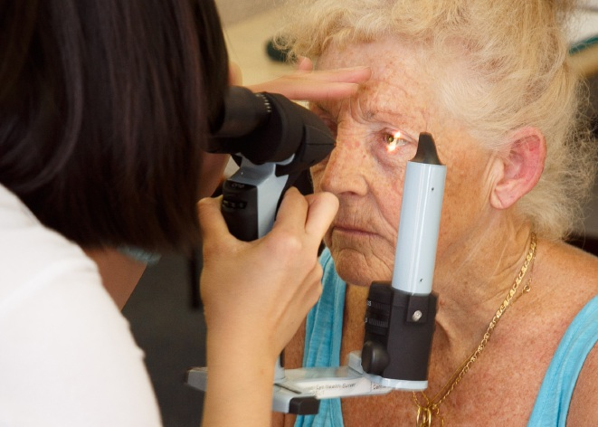 Lesmurdie resident Margaret Morrell was among the final participants to have her eyes tested as part of the National Eye Health Survey as the survey came to an end on Saturday in Perth. Picture: Vision 2020 Australia/Matthew Dwyer Photography