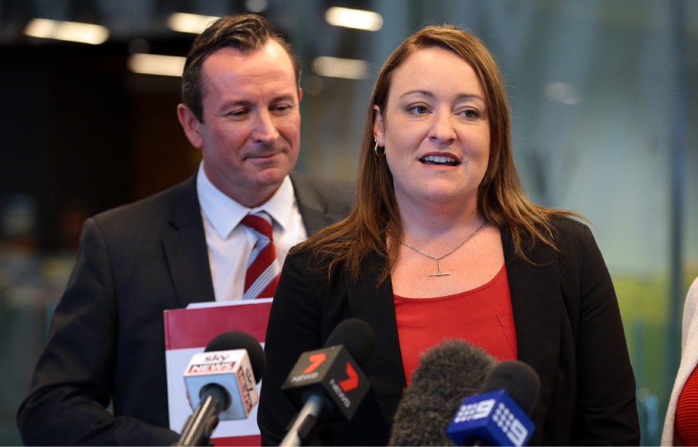 WA Labor leader Mark McGowan with Labor candidate for Joondalup Emily Hamilton. Picture: Martin Kennealey d452900