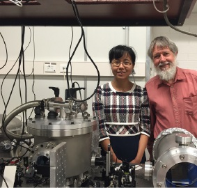 UWA PhD student Jiayi Qin and Professor David Blair testing the new technology in The University's School of Physics.