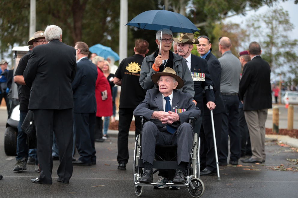 Wanneroo residents Margaret Bain and her father Frank Howe took part in the Wanneroo Joondalup RSL Anzac Day march. Picture: Martin Kennealey d453153