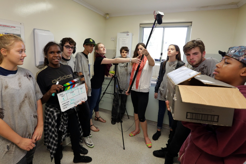 Jessica O'Connor (Filmbites Youth Film School, centre) with course participants. Picture: Martin Kennealey d452804