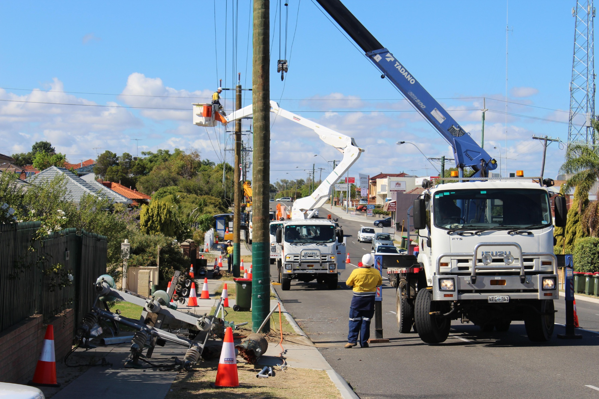 Western Power workers in Main Street, Osborne Park this morning. Picture: Kate Leaver.