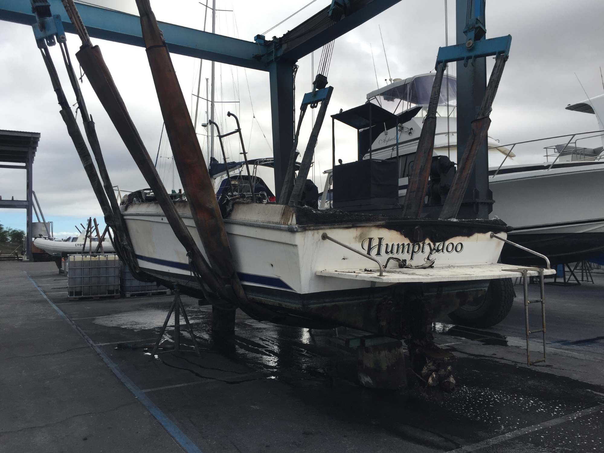 The boat was destroyed in the blaze. Picture: Martin Kennealey