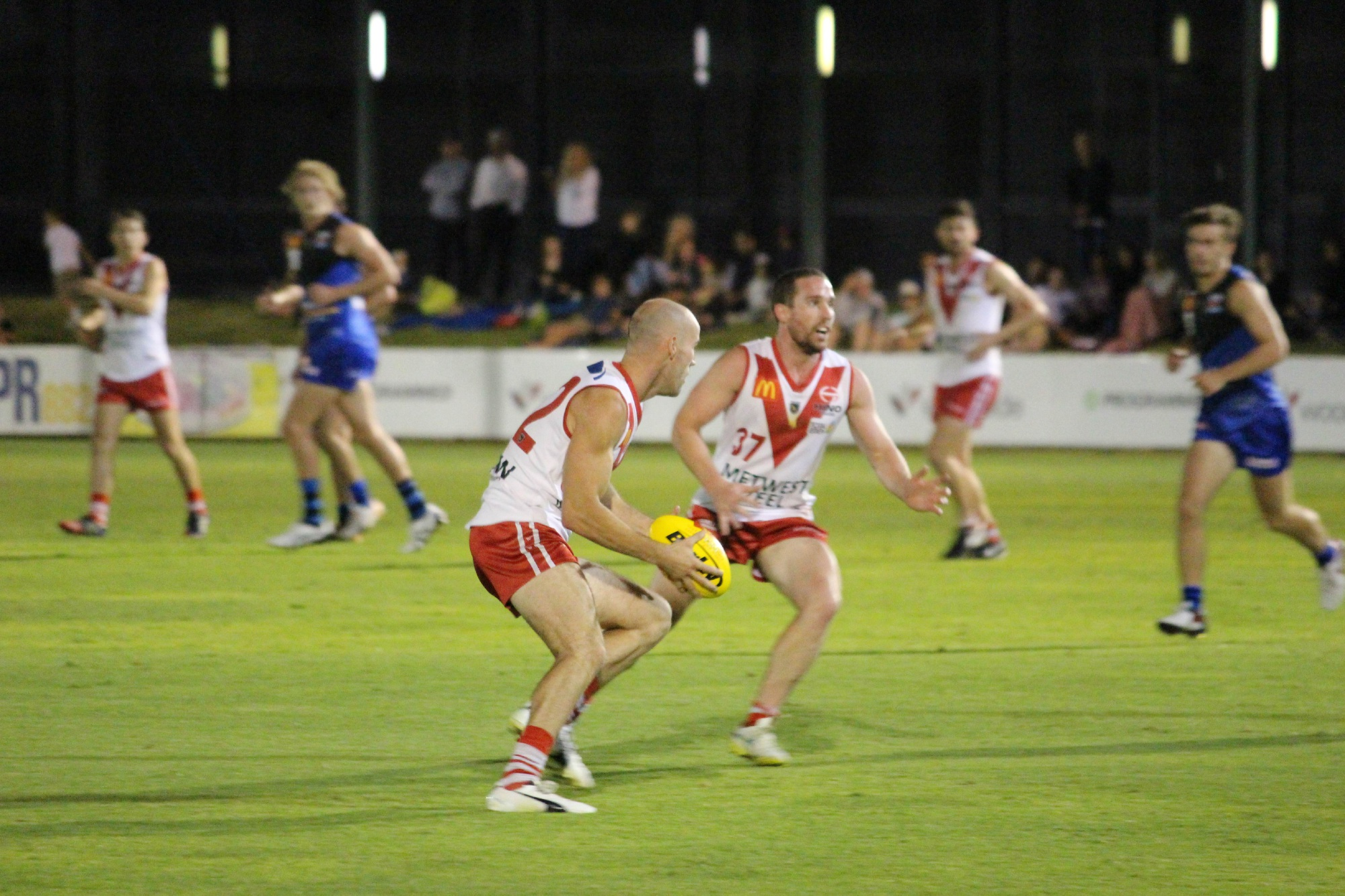 South Fremantle teammates Ryan Cook and Ashton Hams among nine Fremantle-based players picked in WA side tackling Tasmania on Saturday. Picture: Bryce Luff.