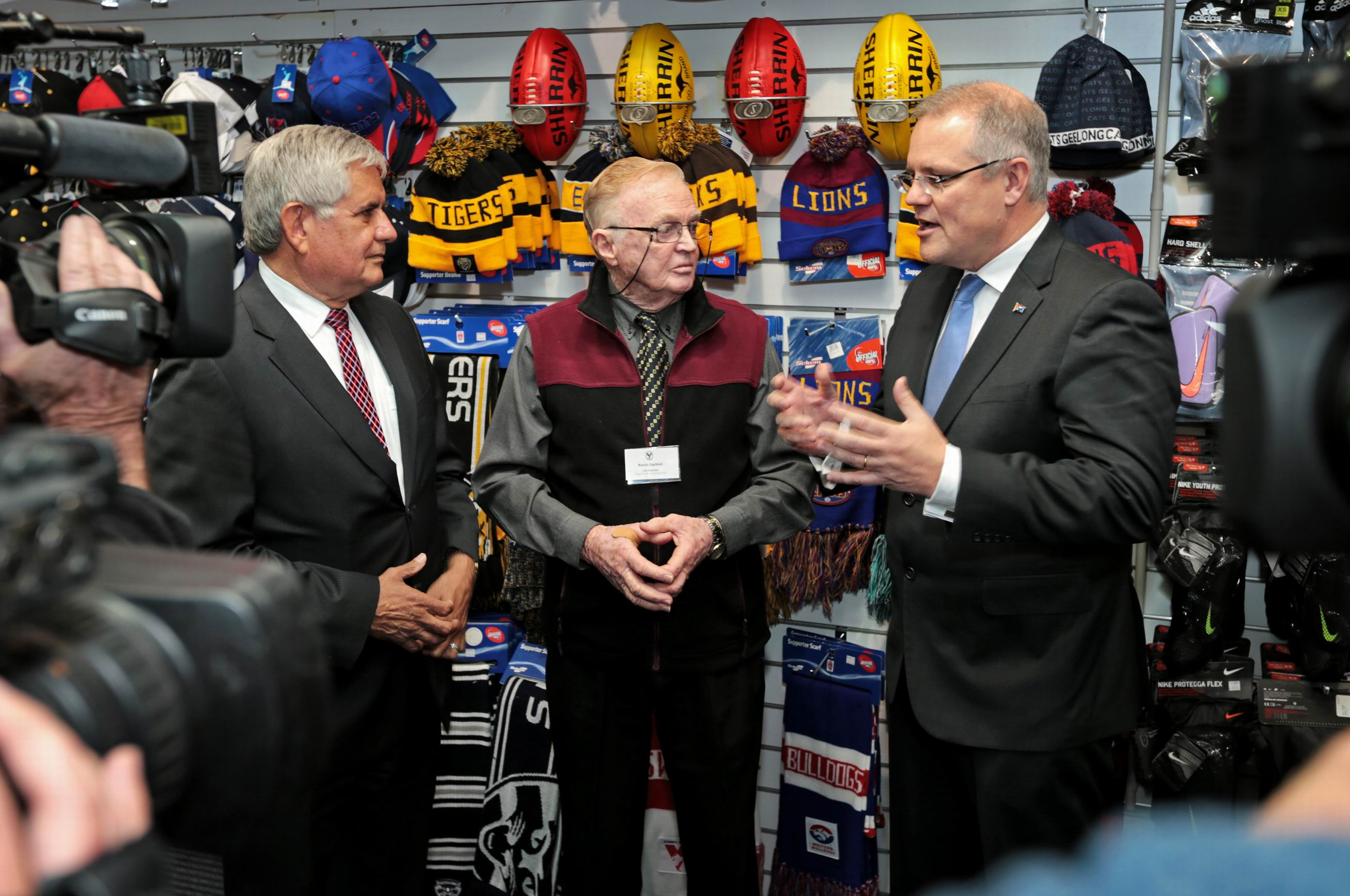 Ken Wyatt with Kevin Gartrell (Slater-Gartrell Sports store in Midland) and Treasurer Scott Morrison. Picture: David Baylis