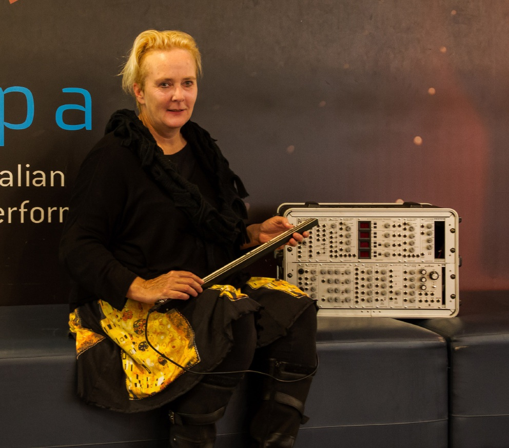 Roleystone musician Meg Travers with the trautonium she built as part of her research project into the instrument that was originally invented in Germany in 1929.