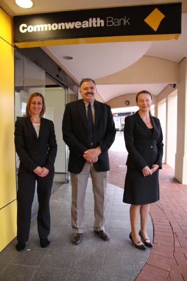 Commonwealth Bank branch managers Kelly Keane and Shaynee Tuppin with Joondalup Business Association president Russell Poliwka.