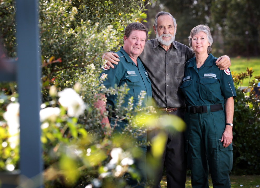 Raffaele Cattalini (centre) of Gidgegannup with Volunteer Ambulance Officers Kim (left) and Sue Maddrell. Picture: David Baylis